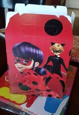 Caterpillar Party Supplies (8 Miraculous Ladybug Cat Noir Party Favor Box Treat Loot Bags Party)