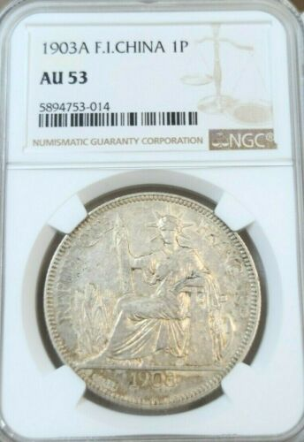 1903 FRENCH INDO CHINA SILVER 1 PIASTRE NGC AU 53 SCARCE IN HIGH GRADE BEAUTIFUL