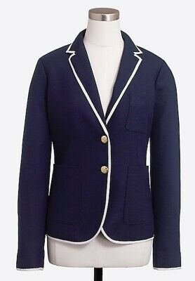 NWT J. Crew Factory Tipped Navy Schoolboy Blazer SZ 4 Lined Wool Career G1351