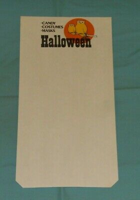 vintage HALLOWEEN RETAIL STORE DISPLAY SIGN owls candy costumes masks - Halloween Candy Store