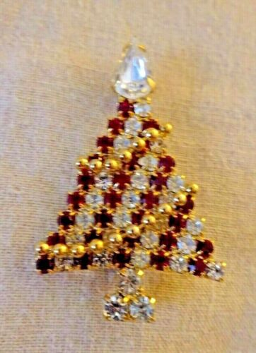Kirks Folly Christmas Tree Pin Brooch Cheerful Red Clear Crystal Design