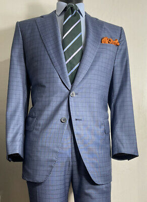 Current Isaia Super 160's Wool Blue Window Pane Suit 42 R Made In Italy Vented