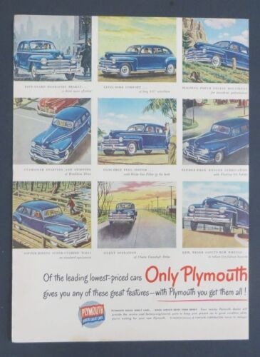 Original 1948 Print Ad PLYMOUTH Only Sedans Builds Great Cars
