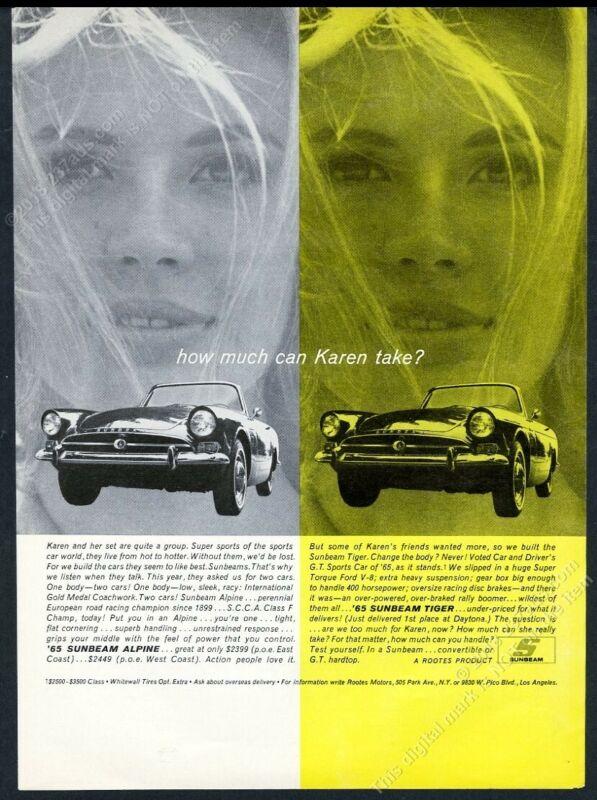 1965 Sunbeam Tiger Alpine car woman photo How Much Can Karen Take print ad