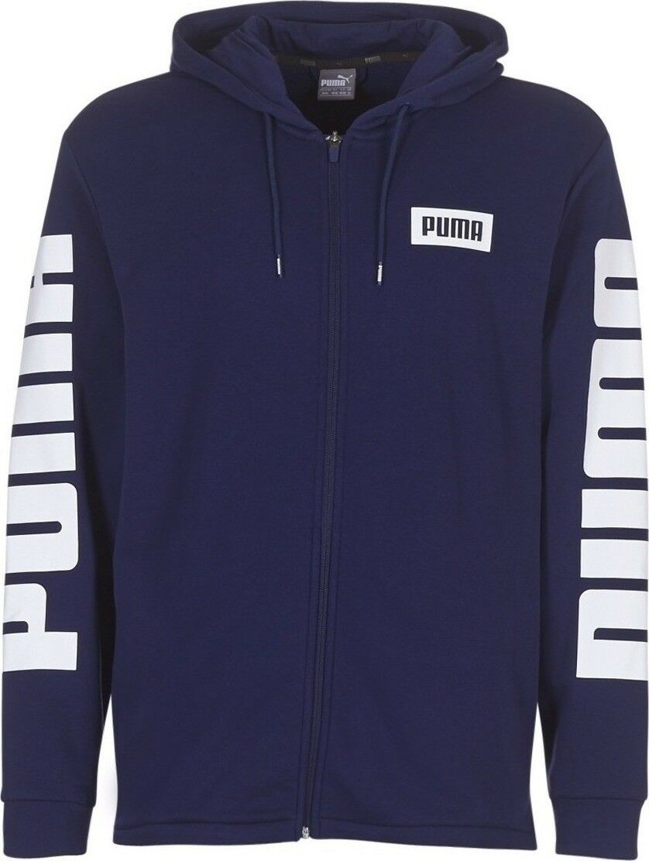 Details about Puma Rebel Full Zip Hoody TR Mens Hooded Sweat Jumper Navy Blue 850074 06 UA137