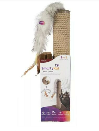 SmartyKat Tweet Tower Jute Rope Cat Scratcher Post with Elec