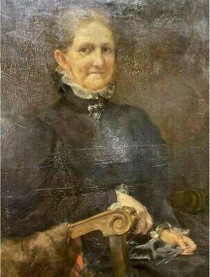 DIPINTO ANTICO OLIO SU TELA EPOCA 1830-1850 RITRATTO DI NOBILDONNA 101X73 CM