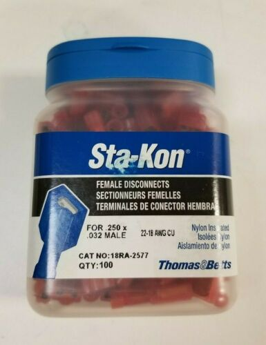 STA-KON 18RA-2577 Female Disconnect,RED,22 to 18AWG,PK100