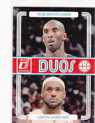 KOBE Bryant & LEBRON James DUOS INSERT BASKETBALL Card LA Lakers MIAM - Miam Heat