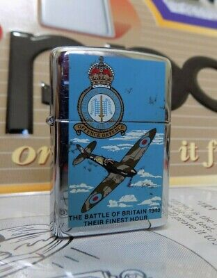 Zippo Windproof Lighter Battle of Britain High Polish Chrome 1990 RARE USED