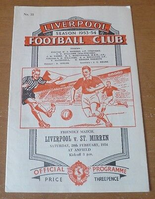 Liverpool v St. Mirren, 1953/54 - *Rare* Friendly Match Programme.