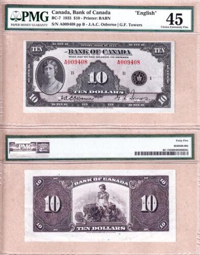 1935 $10 Princess Mary, English Variety. Strong PMG CH EF45 Bank of Canada BC-7
