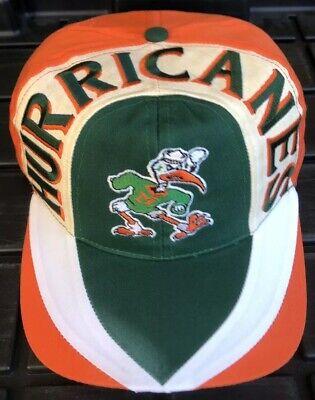 Vintage 90s Miami Hurricanes Twins Enterprise SnapBack Hat Double Wave Swirl ()