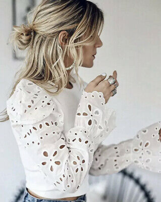 Zara Contrast Sleeve Sweater Top Jumper Blouse White Cutwork Embroidery S M L