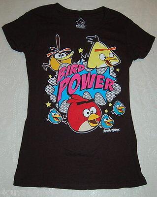 JR Womens Tee Shirt BLACK Bird Power ANGRY BIRDS Cap Sleeve S M L 2XL Bird Womens Cap Sleeve T-shirt