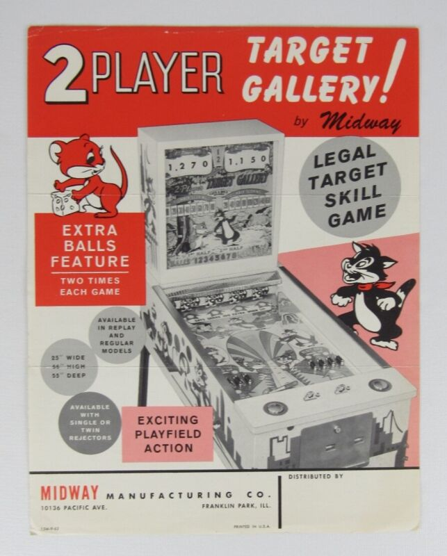 Midway Target Gallery Skill Arcade Game Flyer