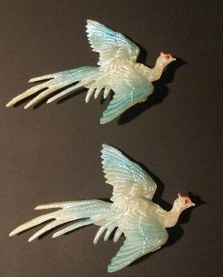 Vintage Plastic Flying Bird Pin Brooch Bird of Paradise Set of 2 EUC