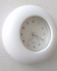 Round Table Travel Alarm Clock Battery Operated Quartz Movement New Pure White