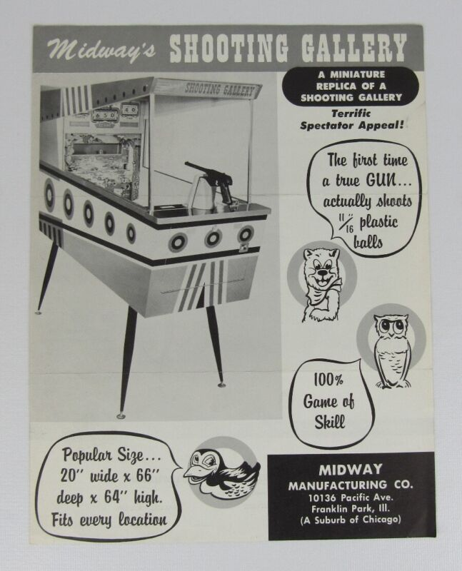 Midway Shooting Gallery Arcade Game Flyer