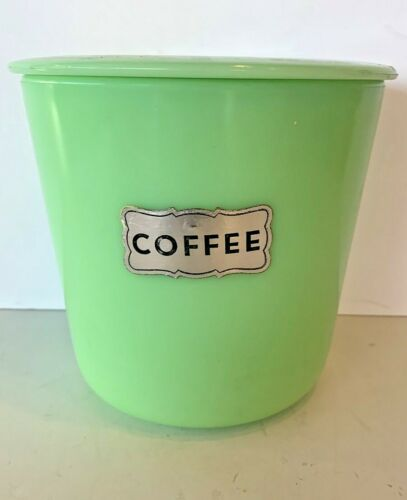 Vintage Mckee Jadeite Coffee Canister With Lid & Silver Sticker.