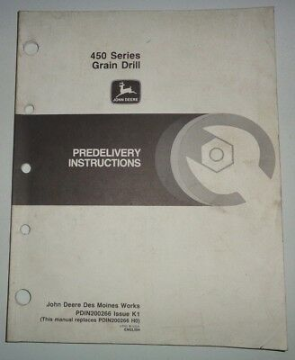 John Deere 450 Series Grain Drill Predelivery Assembly Instructions Manual Jd
