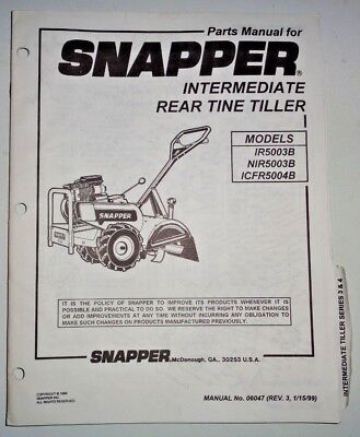 Snapper Ir5003b Nir5003b Icfr5004b Rear Tine Tiller Parts Catalog Manual 199