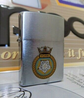 Zippo Windproof Lighter HMS York Brushed Chrome 1985 RARE USED