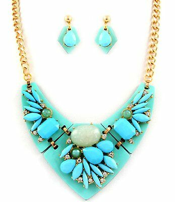 - Aqua Teardrop Stones Crystal Accent Necklace Earrings Set Fashion Jewelry Set