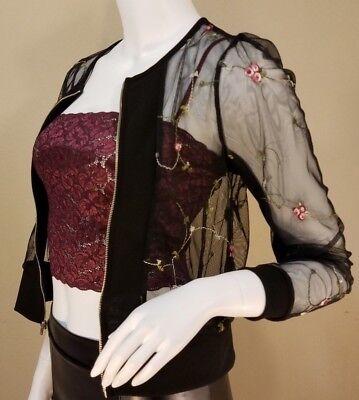Fashion See-Through Flower Floral Zip Baseball Coat Jacket Blazer  - Flower Blazer