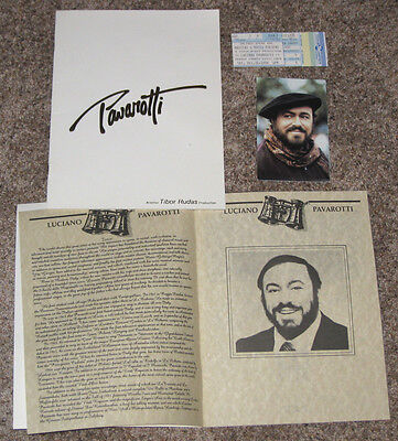 1988 LUCIANO PAVAROTTI CONCERT PROGRAMS, TICKET + FROM ORANGE COUNTY PERFORMANCE
