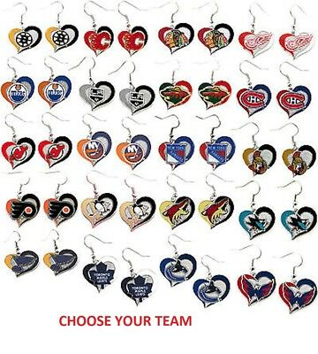 nhl football swirl heart earrings pick your