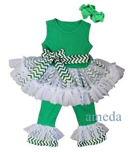 Girls Green Chevron Ruffled Top Pants Sash St Patricks Day ...