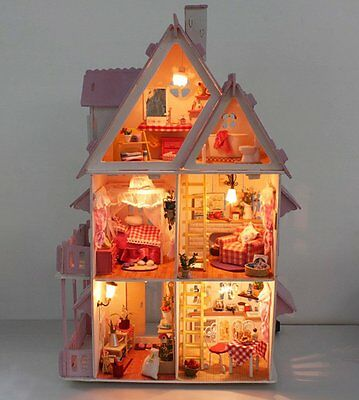 deAO Three leven Wooden Doll House - Self Build Model Luxury Miniature