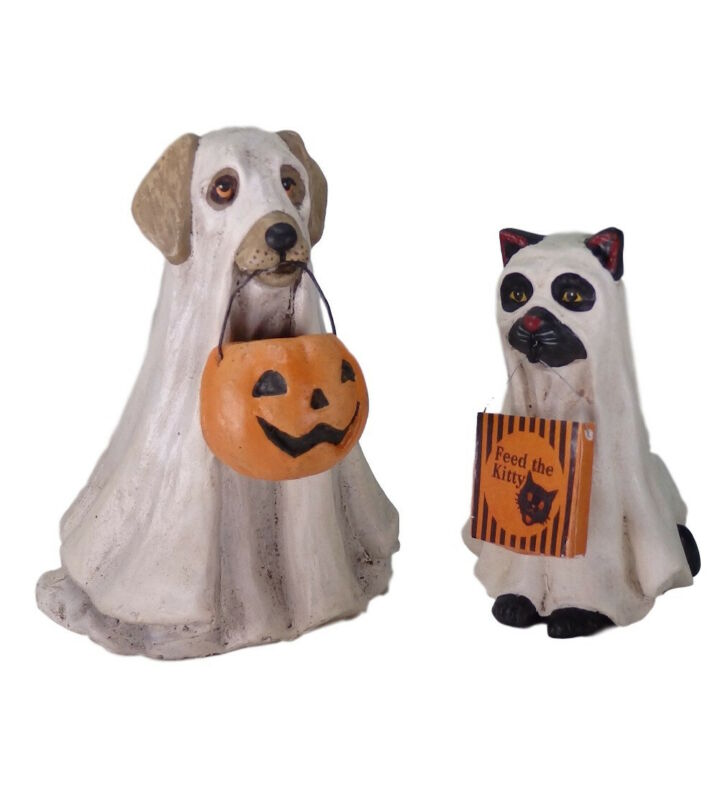 Bethany Lowe Spooky Ghost Dog and Cat Set Halloween Decorations Pup Black Kitty