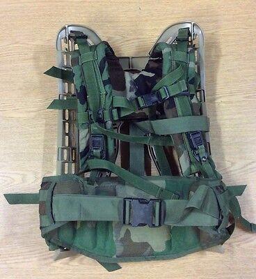 Used Woodland Camo USGI Molle II Frame , Belt and Shoulder Straps COMBO