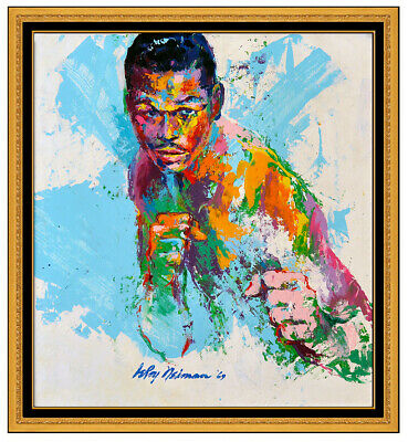 LeRoy Neiman Oil Painting on Board Signed Boxing Sugar Ray Robinson Sports Art