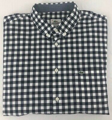 Lacoste Sz. Large (42) Gingham Long Sleeve Button Down! Barely Worn!