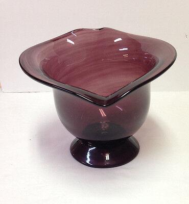 VIntage Amethyst Glass Bowl Art Large Heavy Heart Shape Rim Purple Mid Century