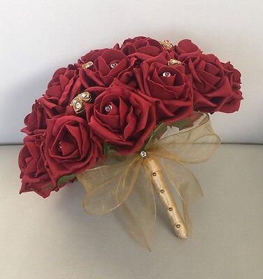 Wedding Flowers Gold - BRIDE ARTIFICIAL WEDDING FLOWERS RUBY RED GOLD FOAM ROSE BOUQUET POSIE ASIAN