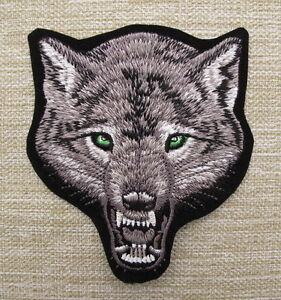 WOLF Small Embroidered Iron On/Sew On Patch Biker Heavy Metal