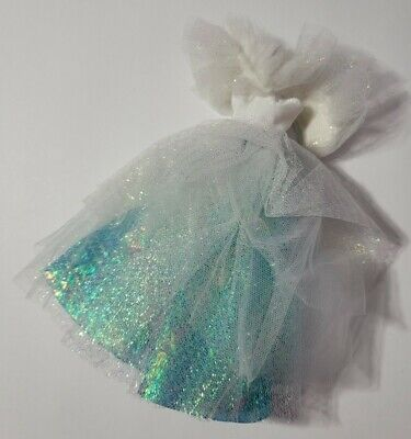 BARBIE DOLL CLOTHES WHITE & BLUE SHIMMERY TULLE FUR COLLAR DRESS STRAP NEED SEWN