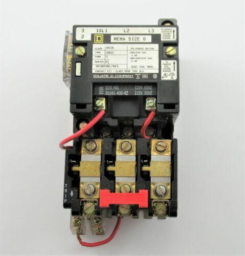 SQUARE D 8536SB02S MOTOR STARTER 110/120V COIL SIZE 0 8536SBO2
