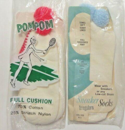 Vtg Pom Pom Tennis Ankle Sneaker Socks 2 Pair Womens