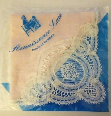Renaissance Lace Belgium Handkerchief Soft Pink MINT IN PKG Wedding Bridal -