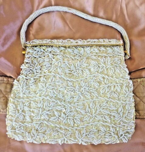Vintage K. Gimbel Evening Purse White Bead and Sequin Gold Metal Handle