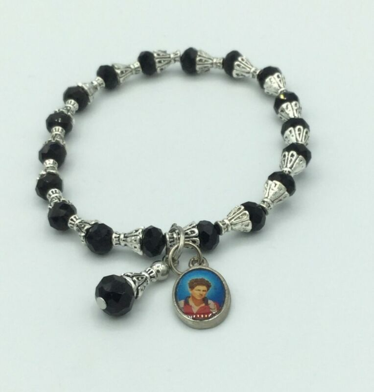 Carlo Acutis Medal Catholic Bracelet Black Stretch crystal Beads Healing Beato