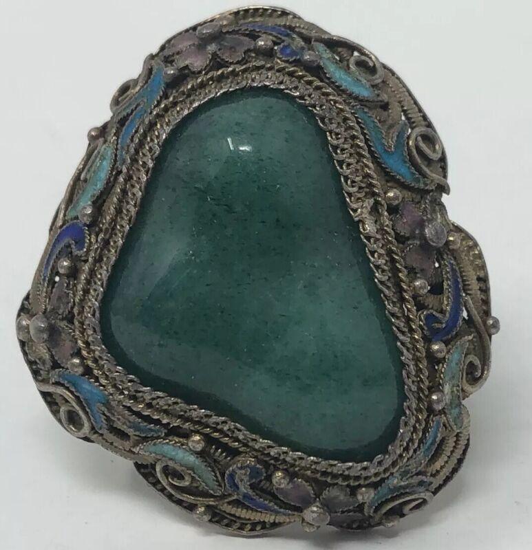 Vintage Ornate Antique Chinese Export Vermeil Gilt  Silver Ring Enamel & Jade