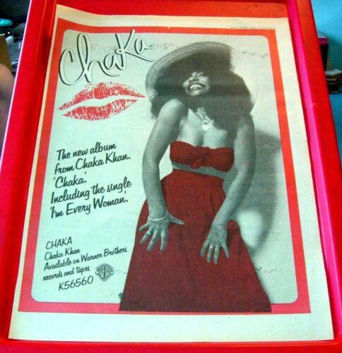 Chaka Khan Chaka Vintage ORIG 1979 Press/Magazine ADVERT Poster-Size Soul/Disco
