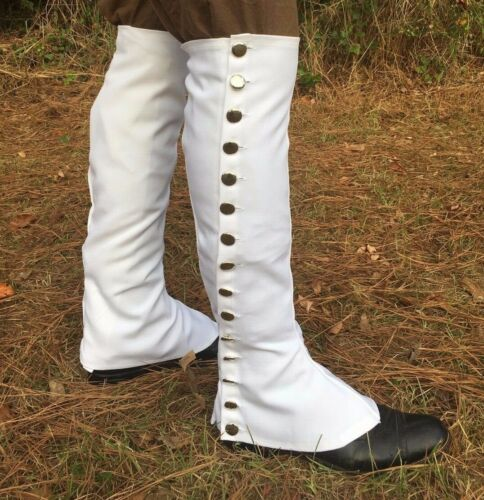 White Canvas Knee Gaiters - F&I, Rev War, War of 1812, Rendezvous, reenactment