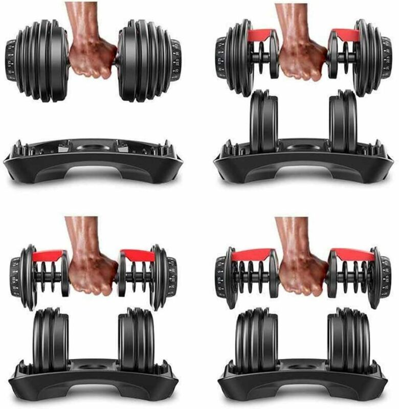 Adjustable Dumbbell Weight Select 552 1090 Fitness Workout Gym Dumbbells SyncsUS